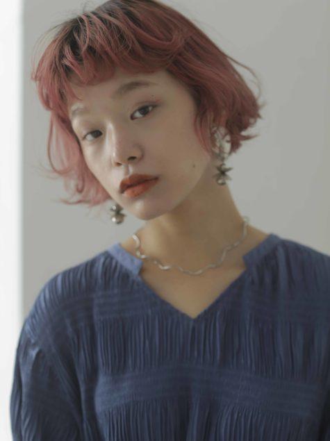 ミニボブパーマ×ピンクカラー